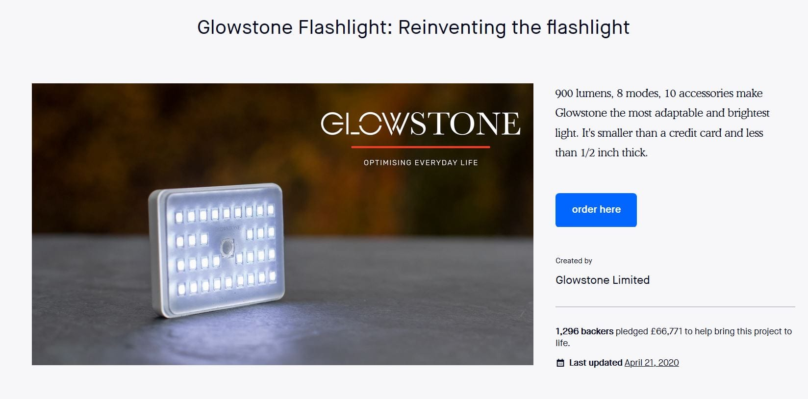 Glowstone Kickstarter