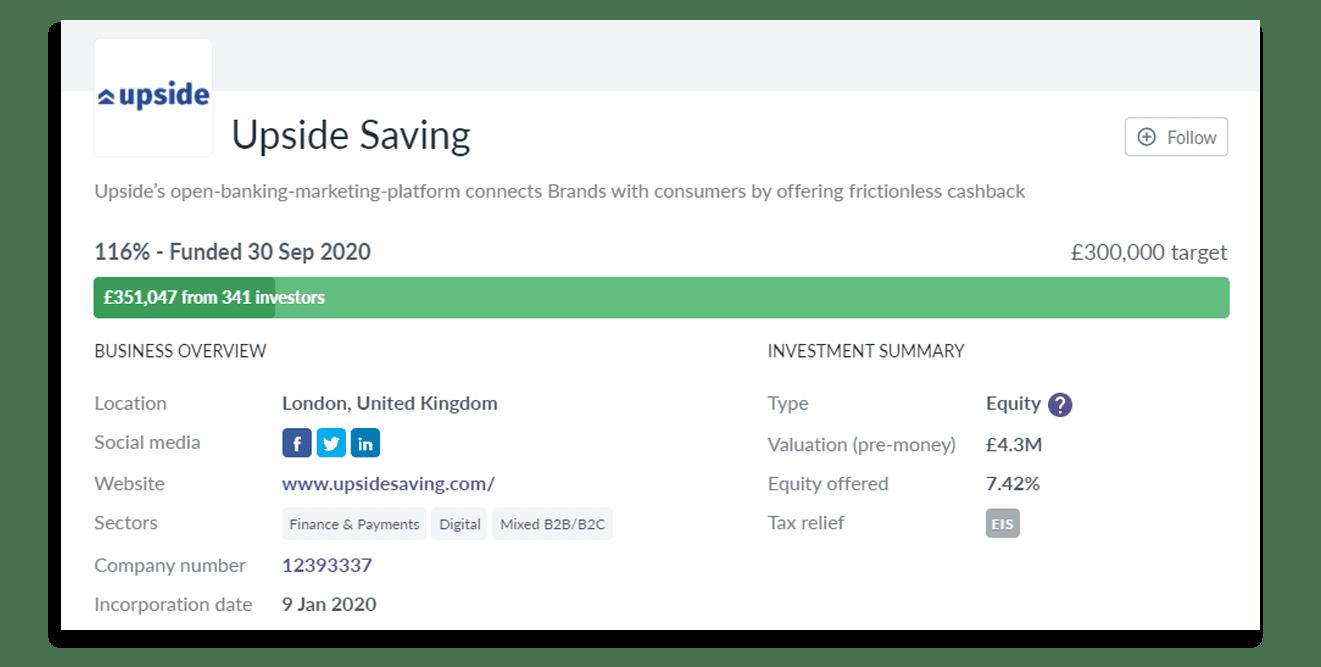Upside Savings Seedrs Crowdfunding Campaign